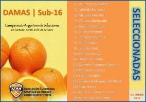 La lista del Seleccionado Sub-16 Damas
